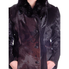 Vintage Black-Brown Shades Pony Fur Trench Coat 1970s Provenance Size 10-12 - The Best Vintage Clothing  - 4