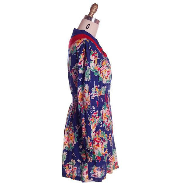 Vintage Printed Smock or Robe Fab 1940s Rare Mexican Print 36-28-44 NWOT - The Best Vintage Clothing  - 2