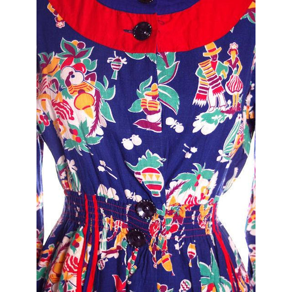 Vintage Printed Smock or Robe Fab 1940s Rare Mexican Print 36-28-44 NWOT - The Best Vintage Clothing  - 5