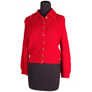 Vintage Schiaparelli Sweater Raspberry Wool  1950S Large - The Best Vintage Clothing  - 1