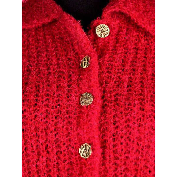 Vintage Schiaparelli Sweater Raspberry Wool  1950S Large - The Best Vintage Clothing  - 2