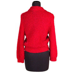 Vintage Schiaparelli Sweater Raspberry Wool  1950S Large - The Best Vintage Clothing  - 3