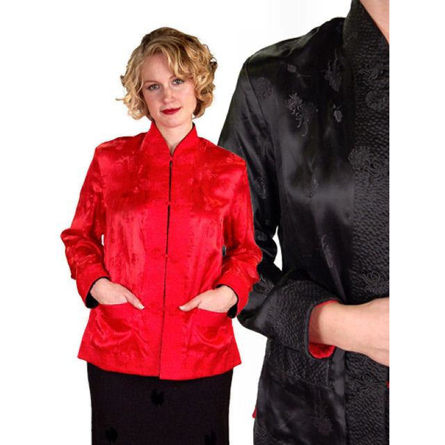 Vintage Ladies Reversible   Red Rayon Satin Damask Evening Jacket 1950S M-L - The Best Vintage Clothing  - 1