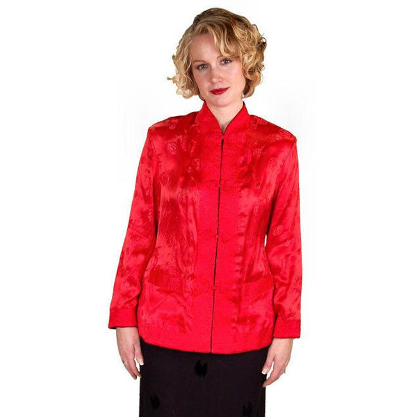 Vintage Ladies Reversible   Red Rayon Satin Damask Evening Jacket 1950S M-L - The Best Vintage Clothing  - 2