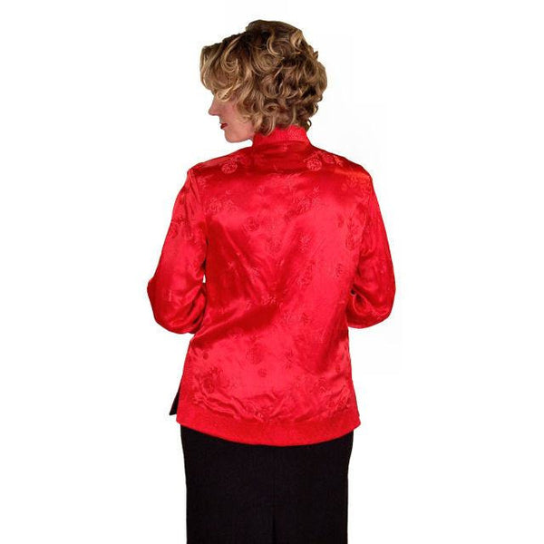 Vintage Ladies Reversible   Red Rayon Satin Damask Evening Jacket 1950S M-L - The Best Vintage Clothing  - 3