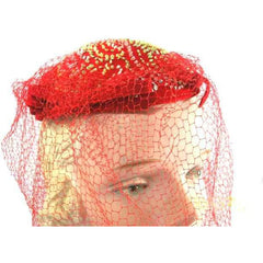 Vintage Red Embroidered Hat Gorgeous Long Net 1940s - The Best Vintage Clothing  - 2
