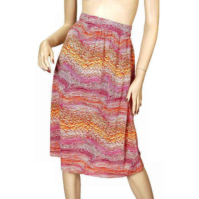Vintage Wrap Skirt Pink & Orange Printed  Silk Knit  J. Tiktiner 1970S Small - The Best Vintage Clothing  - 1