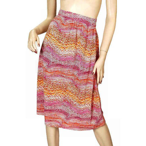 Vintage Wrap Skirt Pink & Orange Printed  Silk Knit  J. Tiktiner 1970S Small