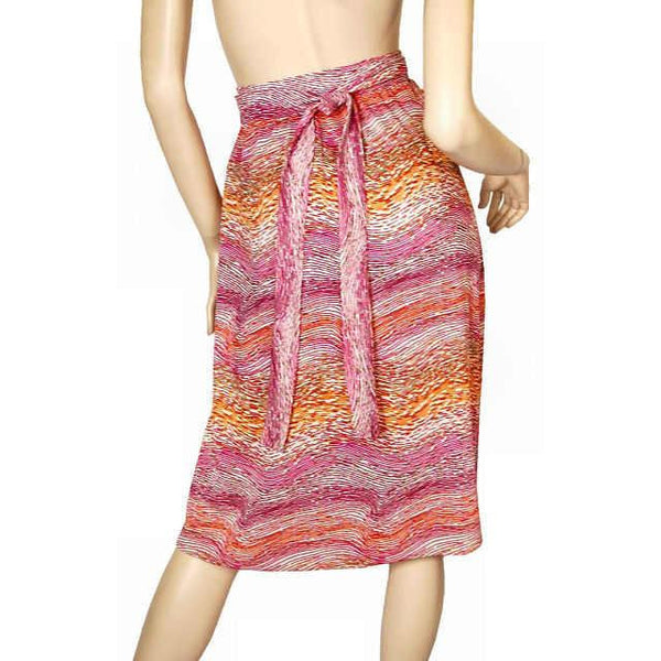 Vintage Wrap Skirt Pink & Orange Printed  Silk Knit  J. Tiktiner 1970S Small - The Best Vintage Clothing  - 2