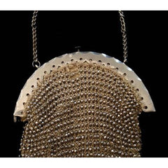 Antique Chatelaine Purse 1870S Silver Cut Steel Beads - The Best Vintage Clothing  - 2