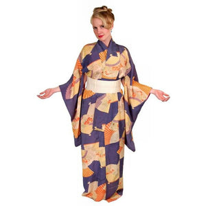 Vintage Silk Kimono w/ Fan Motif Dusty Periwinkle Peach 1920S One Size - The Best Vintage Clothing  - 1