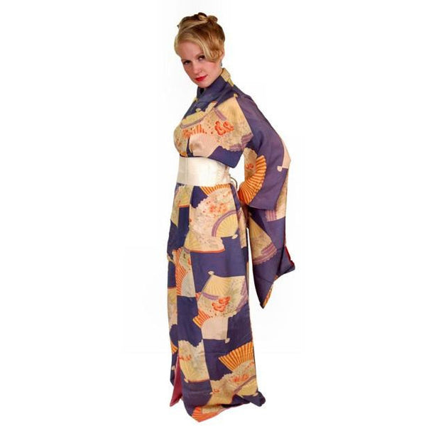 Vintage Silk Kimono w/ Fan Motif Dusty Periwinkle Peach 1920S One Size - The Best Vintage Clothing  - 2