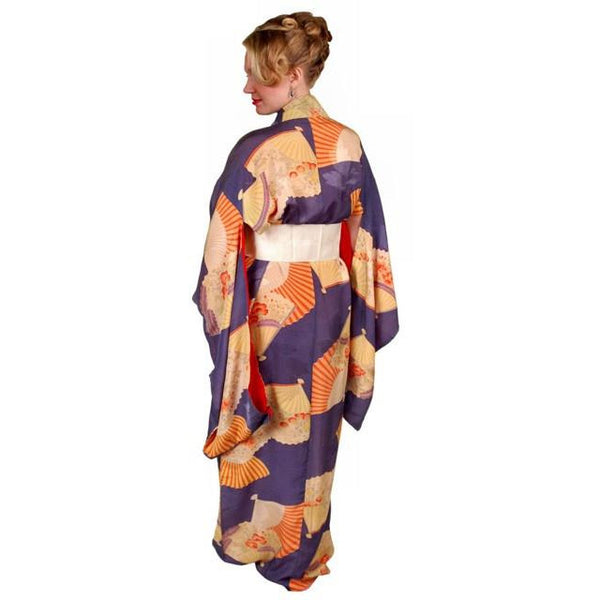 Vintage Silk Kimono w/ Fan Motif Dusty Periwinkle Peach 1920S One Size - The Best Vintage Clothing  - 3