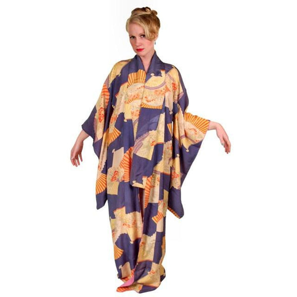 Vintage Silk Kimono w/ Fan Motif Dusty Periwinkle Peach 1920S One Size - The Best Vintage Clothing  - 5
