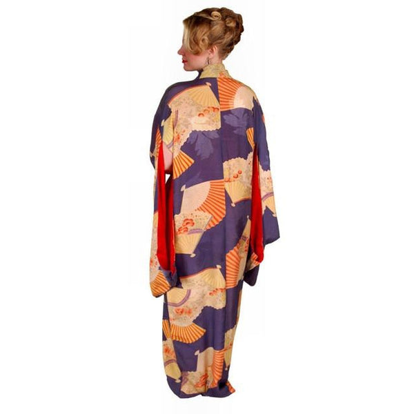Vintage Silk Kimono w/ Fan Motif Dusty Periwinkle Peach 1920S One Size - The Best Vintage Clothing  - 7