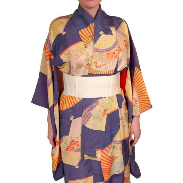 Vintage Silk Kimono w/ Fan Motif Dusty Periwinkle Peach 1920S One Size - The Best Vintage Clothing  - 8