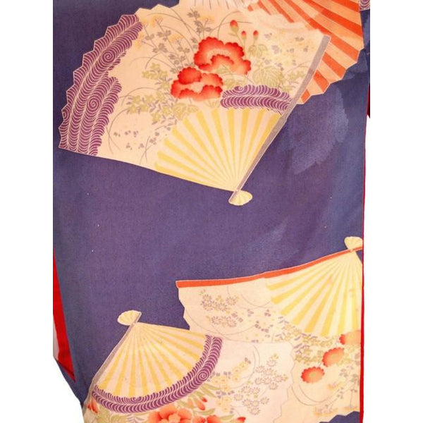 Vintage Silk Kimono w/ Fan Motif Dusty Periwinkle Peach 1920S One Size - The Best Vintage Clothing  - 9