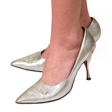 Vintage Shoes Silver Leather Stiletto Heels Tiny Ackerman 1950S 7.5 - The Best Vintage Clothing  - 7
