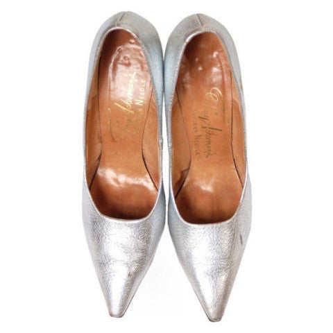 Vintage Shoes Silver Leather Stiletto Heels Tiny Ackerman 1950S 7.5 - The Best Vintage Clothing  - 2