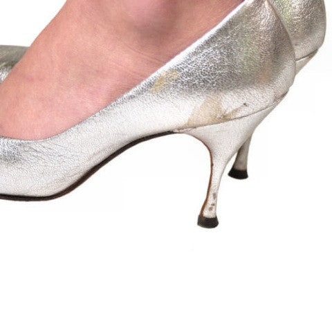 Vintage Shoes Silver Leather Stiletto Heels Tiny Ackerman 1950S 7.5 - The Best Vintage Clothing  - 5