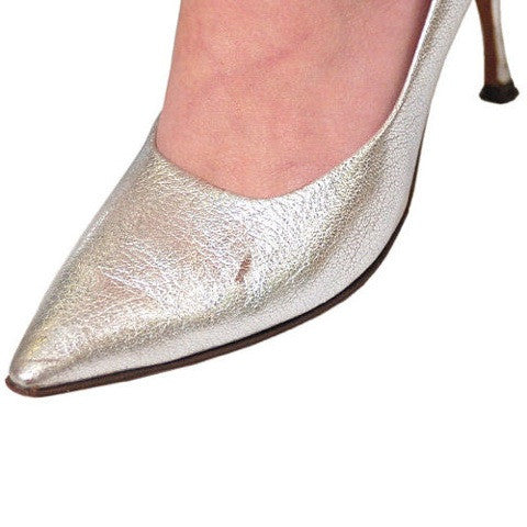 Vintage Shoes Silver Leather Stiletto Heels Tiny Ackerman 1950S 7.5 - The Best Vintage Clothing  - 6