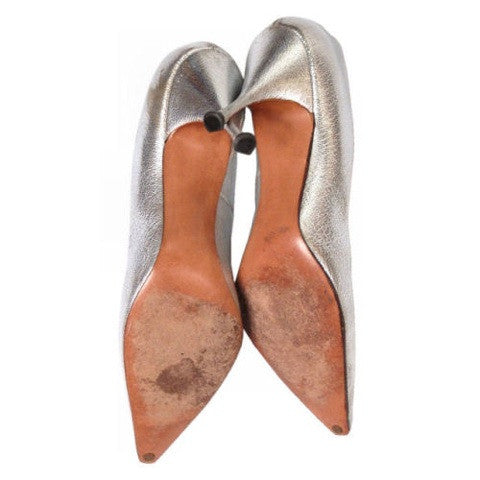 Vintage Shoes Silver Leather Stiletto Heels Tiny Ackerman 1950S 7.5 - The Best Vintage Clothing  - 4
