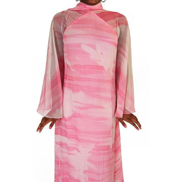 Vintage Silk Chiffon Pink Fantasy Dress Molly Parnis 1970S 34-28-44 - The Best Vintage Clothing  - 2