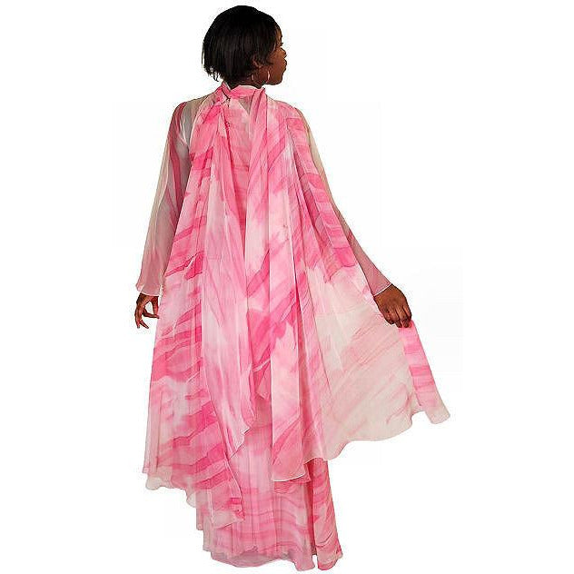 Vintage Silk Chiffon Pink Fantasy Dress Molly Parnis 1970S 34-28-44 - The Best Vintage Clothing  - 1