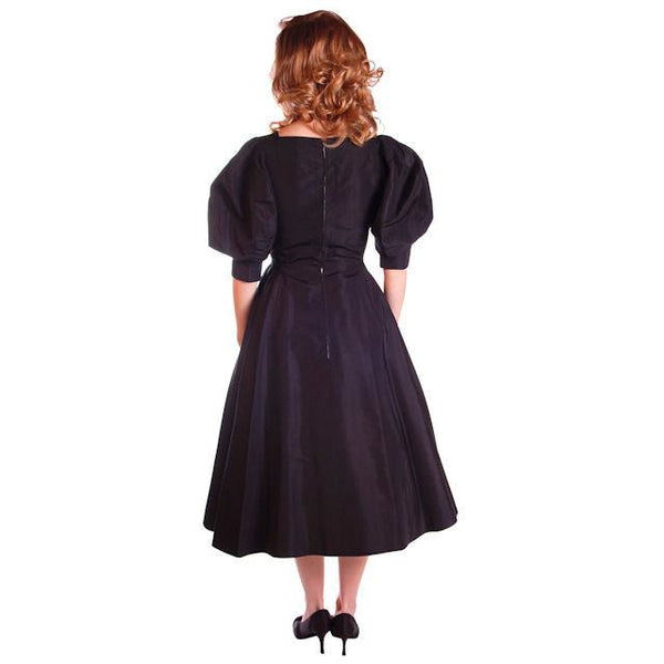 Vintage Silk Faille Cocktail Dress Blums-Vogue 1950S Fab Sleeves 36-26-Free - The Best Vintage Clothing  - 7