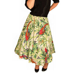 Vintage Circle Skirt Large Scale Print Bark Cloth Super 1940S Small - The Best Vintage Clothing  - 2