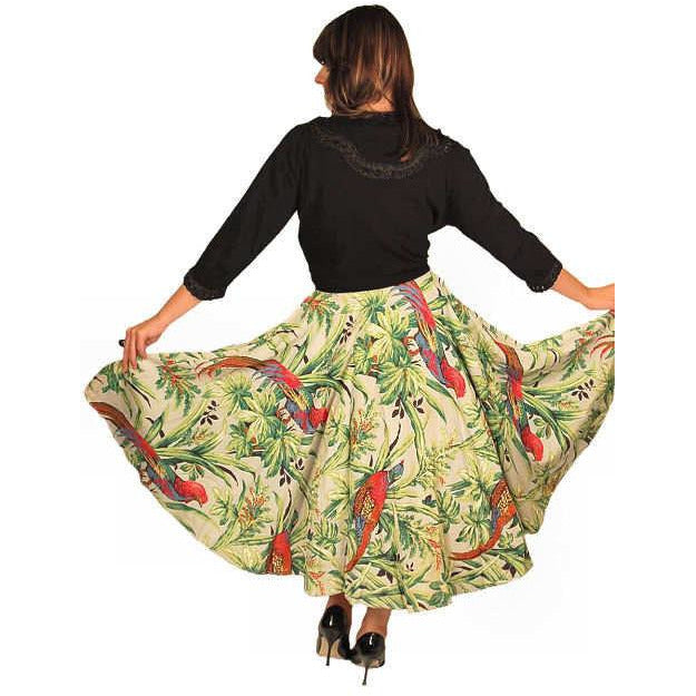 Vintage Circle Skirt Large Scale Print Bark Cloth Super 1940S Small - The Best Vintage Clothing  - 1
