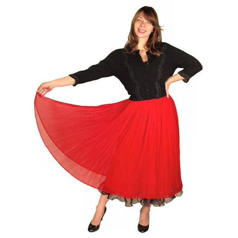 "Vintage Skirt Red Pleated Nylon Chiffon 1940'S Small 25"" Waist"