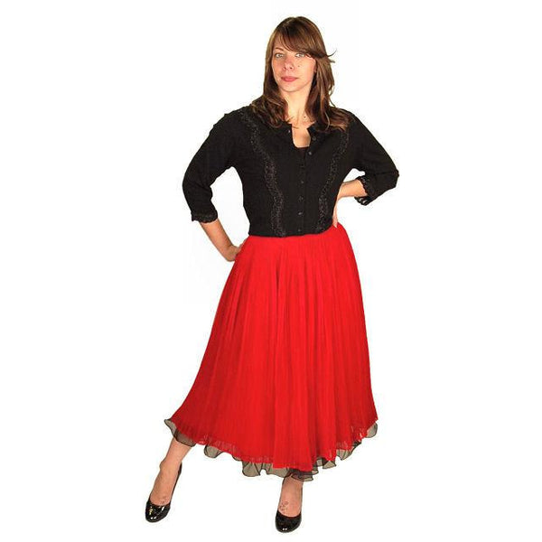 "Vintage Skirt Red Pleated Nylon Chiffon 1940'S Small 25"" Waist - The Best Vintage Clothing  - 2"