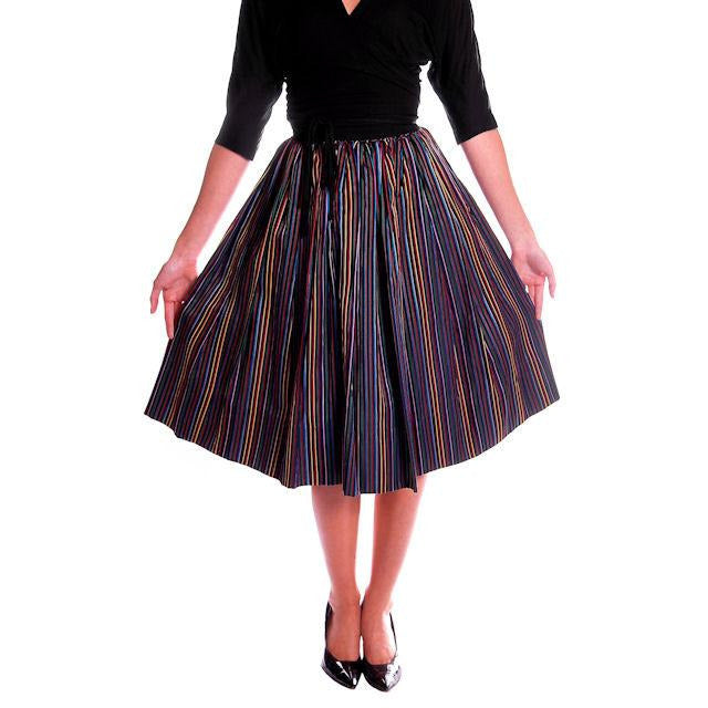 Vintage Skirt Black w/ Bright Primary Stripes 1940's XS - The Best Vintage Clothing  - 1