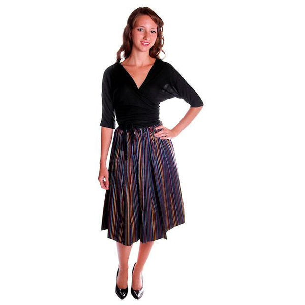 Vintage Skirt Black w/ Bright Primary Stripes 1940's XS - The Best Vintage Clothing  - 5
