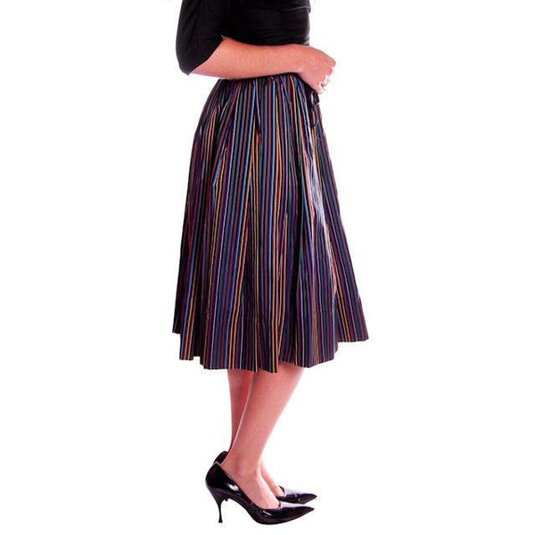 Vintage Skirt Black w/ Bright Primary Stripes 1940's XS - The Best Vintage Clothing  - 4