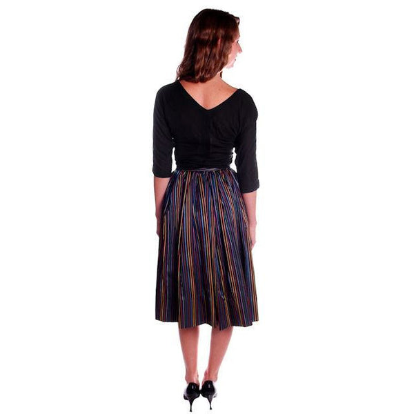 Vintage Skirt Black w/ Bright Primary Stripes 1940's XS - The Best Vintage Clothing  - 2