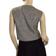 Vintage Blouse Sleeveless Bodice B&W Mollie Abrahamson 1950S - The Best Vintage Clothing  - 2
