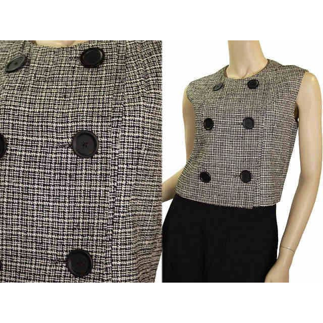 Vintage Blouse Sleeveless Bodice B&W Mollie Abrahamson 1950S - The Best Vintage Clothing  - 1