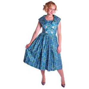 Vintage Sun Dress Polished Cotton Blue/Green Print 1950s M 35-26-Free - The Best Vintage Clothing  - 1