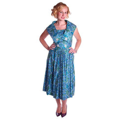 Vintage Sun Dress Polished Cotton Blue/Green Print 1950s M 35-26-Free - The Best Vintage Clothing  - 2