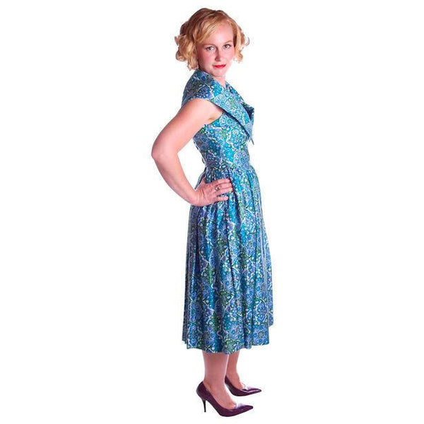 Vintage Sun Dress Polished Cotton Blue/Green Print 1950s M 35-26-Free - The Best Vintage Clothing  - 3