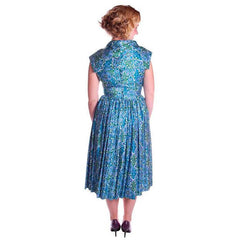 Vintage Sun Dress Polished Cotton Blue/Green Print 1950s M 35-26-Free - The Best Vintage Clothing  - 4