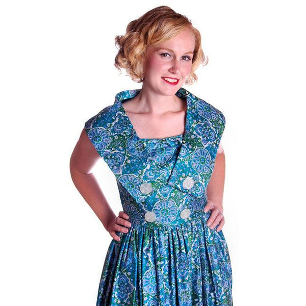 Vintage Sun Dress Polished Cotton Blue/Green Print 1950s M 35-26-Free - The Best Vintage Clothing  - 5