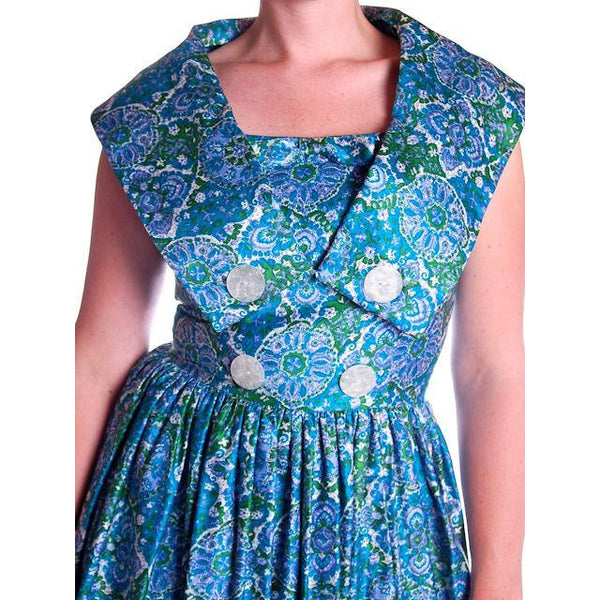 Vintage Sun Dress Polished Cotton Blue/Green Print 1950s M 35-26-Free - The Best Vintage Clothing  - 6