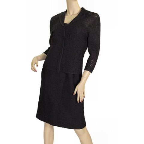 Vintage Vienna Model Wool  Soutache Suit Black 1950S 32-28-36
