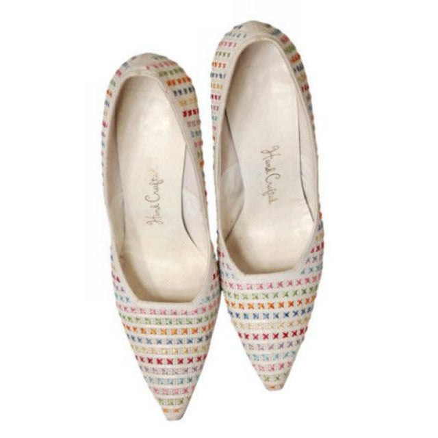 Vintage  White Leather Stiletto Heels Embroidered Unique 1950S Womens 7.5 - The Best Vintage Clothing  - 1