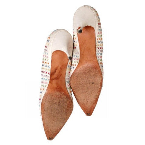 Vintage  White Leather Stiletto Heels Embroidered Unique 1950S Womens 7.5 - The Best Vintage Clothing  - 3