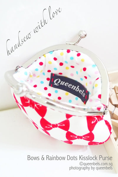 Bows & Rainbow Dots Kisslock Purse