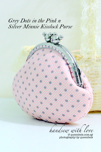 Grey Dots in the Pink n Silver Minnie Kisslock Purse